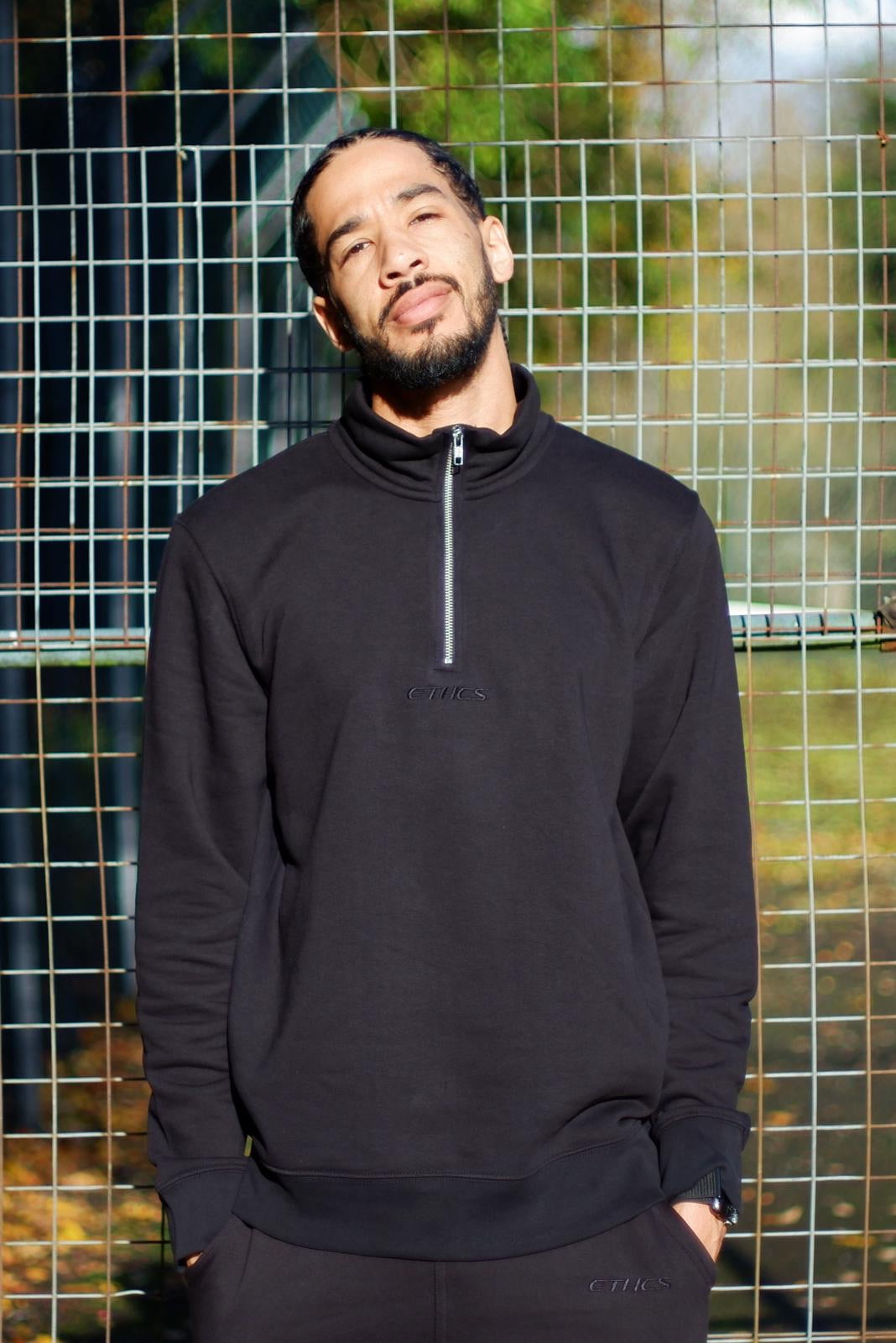 Quarter zip sweater - Ethics and Antics vegan nagev vgang clothing