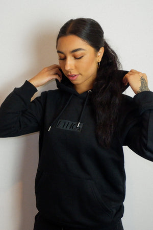 BLACK EMBROIDERED BOX LOGO HOODIE - ETHCS