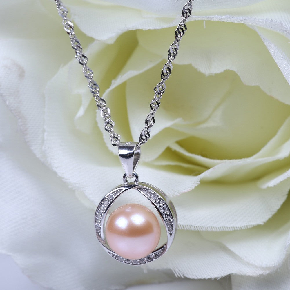 pin jewelry necklace coral pearl silver pendant personalized pink