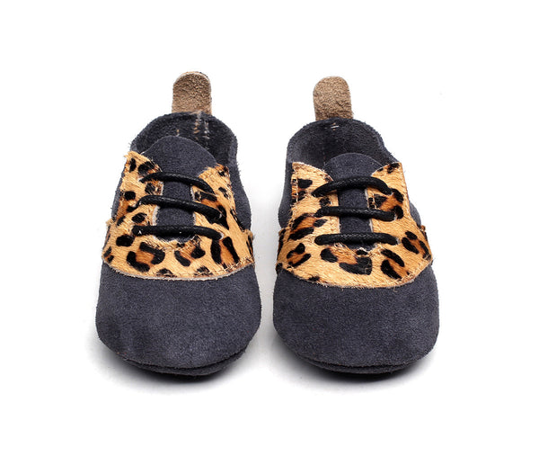 Oxford Navy Leopard soft soles