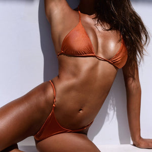 Lani triangle bikini top in Lava