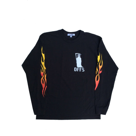 BWOOD - flaming skull L/S T
