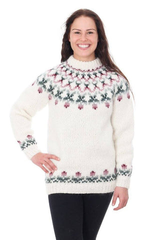 Rósir - Icelandic Sweater - White