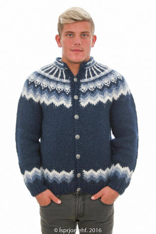 Icelandic Sweater Cardigan. Handknit in Iceland for best crafsmanship. Warm and comfortable to wear