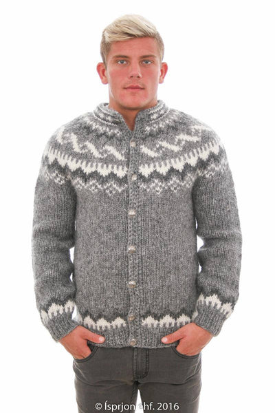 Loki - Icelandic Cardigan Sweater - Grey Heather, Icelandic Cardigan for men - icelandicstore.is