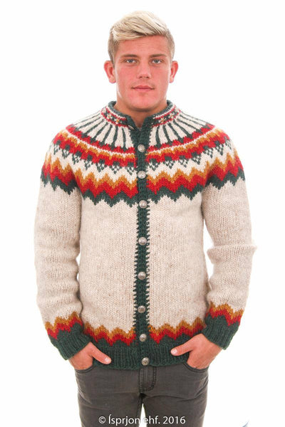 Heimdallur - Icelandic Cardigan Sweater - Beige, Icelandic Cardigan for men - icelandicstore.is