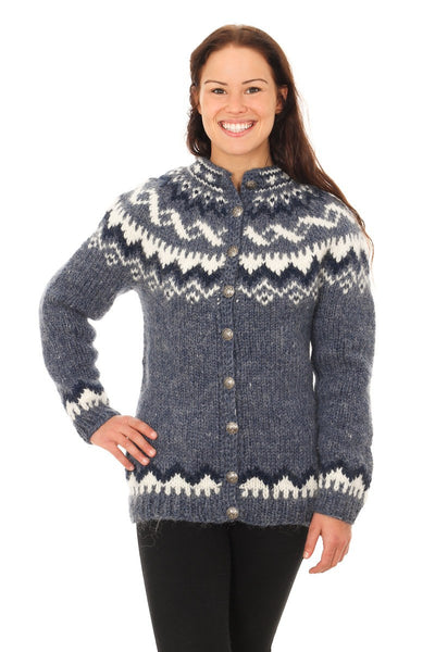 Ísey - Icelandic Wool Cardigan - Denim Heather, Icelandic Cardigan for women - icelandicstore.is