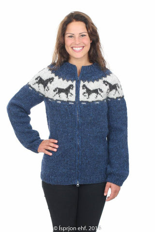 Horses - Icelandic Wool Cardigan - Blue, Icelandic Cardigan for women - icelandicstore.is