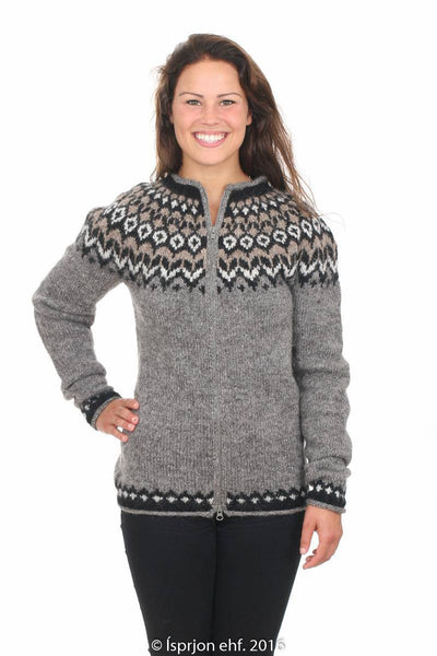 Valkyrja - Icelandic Wool Cardigan - Grey, Icelandic Cardigan for women - icelandicstore.is