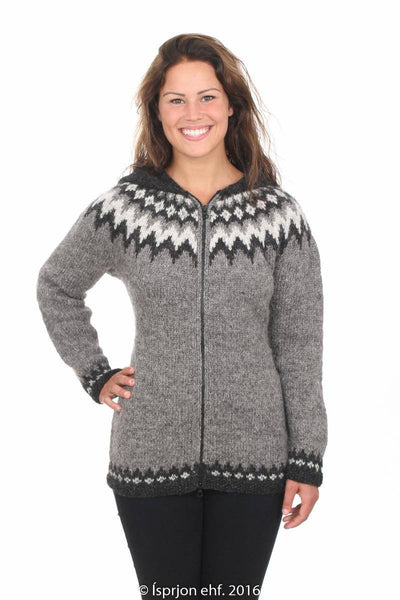 Sjöfn - Icelandic Wool Cardigan - Grey Heather, Icelandic Cardigan for women - icelandicstore.is