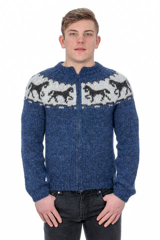 Horses - Icelandic Cardigan Sweater - Blue, Icelandic Cardigan for men - icelandicstore.is