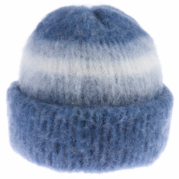 Brushed Wool Hat - Blue / White, Icelandic Wool Hat - icelandicstore.is