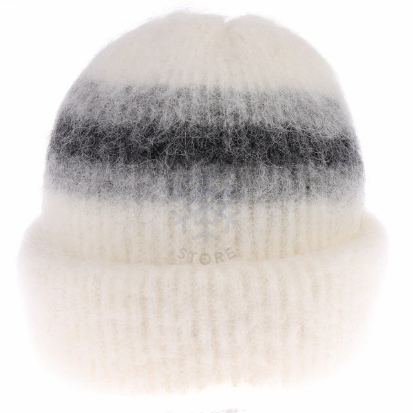 Brushed Wool Hat - White / Grey, Icelandic Wool Hat - icelandicstore.is