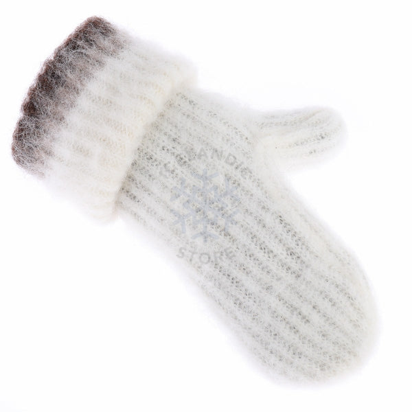 Brushed Wool Mittens - White / Brown, Wool Mittens - icelandicstore.is