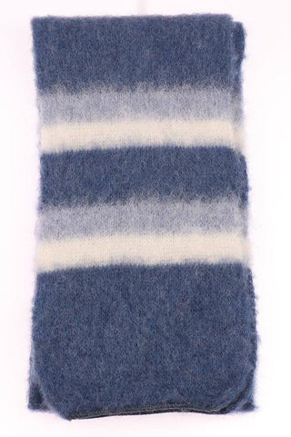 Brushed Wool - Blue stripes, Wool Scarf - icelandicstore.is
