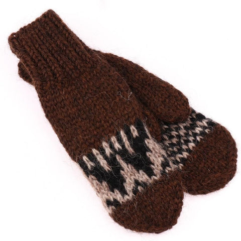 Handknit Wool Mittens - Brown, Wool Mittens - icelandicstore.is