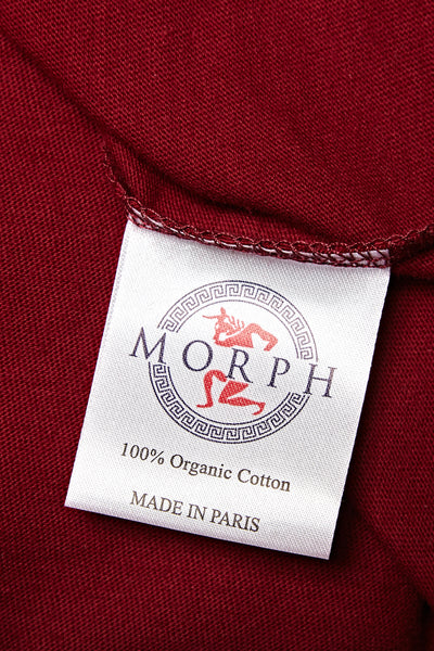 the inside label in the Morph T-shirt, which has the logo on that it's made in Paris using organic cotton.