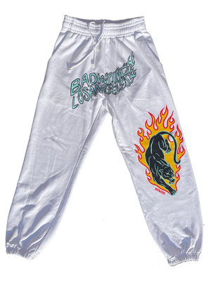 """TWIN FLAME"" Panther Sweatpants in WHITE"