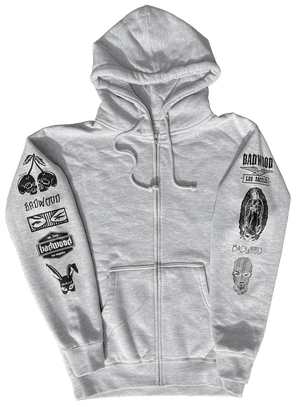 """TRADEMARK"" Unisex Zip-Up in GRAY"