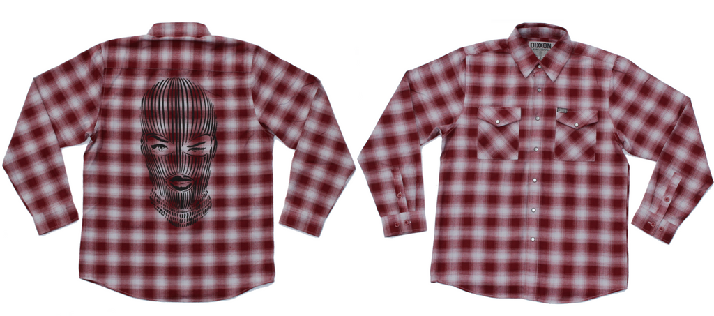 """DIXXON x BADWOOD"" Flannel - *Limited Edition* w/ Ski Mask Print"