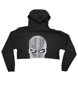 Ski Mask Cropped Hoodie in Black