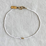SUMMER MICRO BEADED BRACELET IN WHITE - SKU030BLW - keelysmithdesigns
