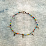 Simple Tiny Beaded Multi Charm Stack Bracelet - 054BLMC14K