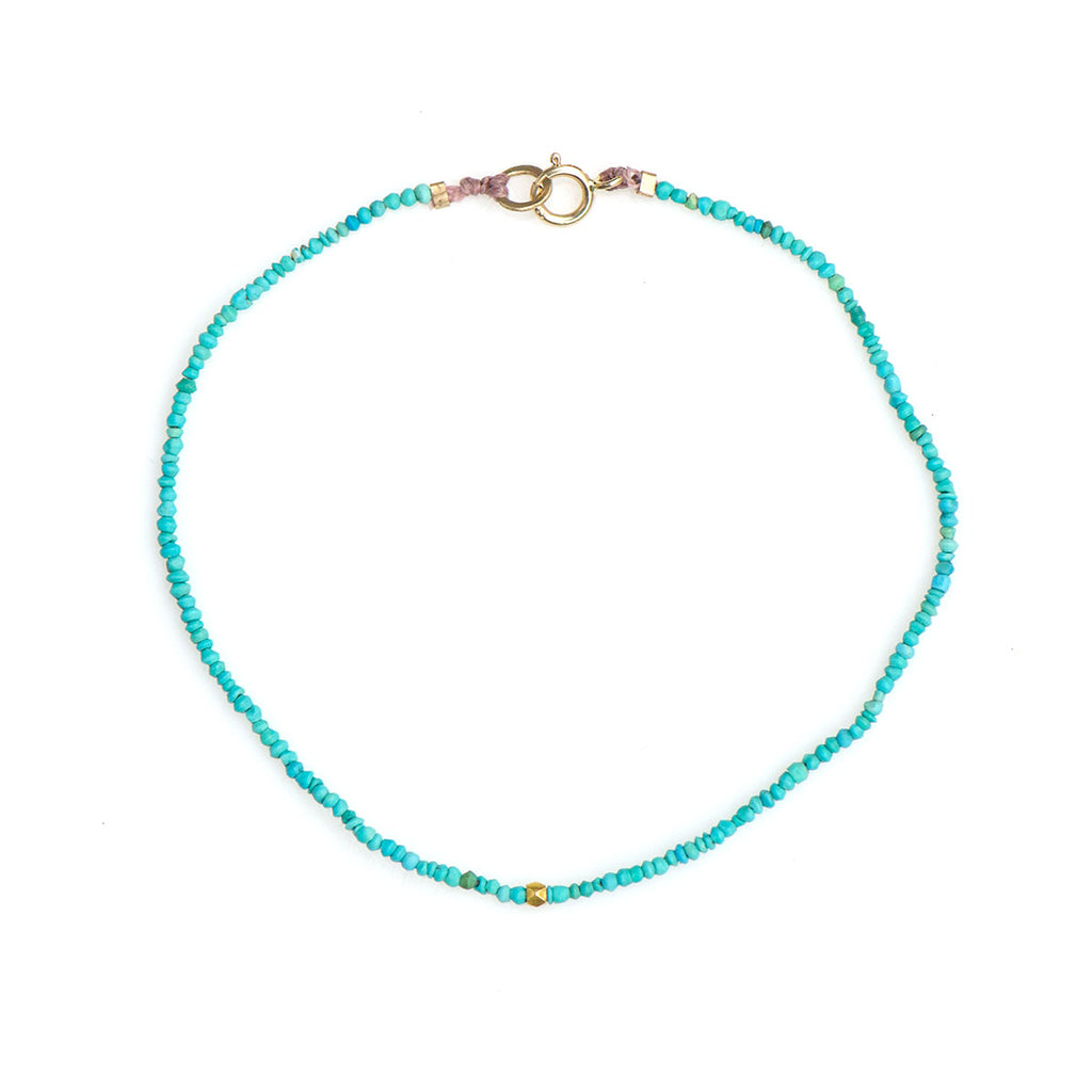 TURQUOISE AND GOLD BEAD BRACELET - SKU056BLTG - keelysmithdesigns