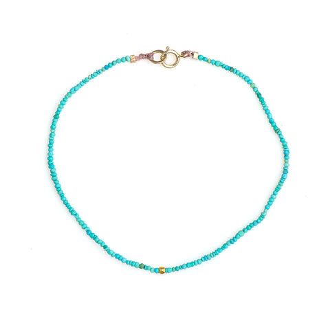 056BLG14K -  STACKING TURQUOISE AND 14K GOLD BEAD BRACELET