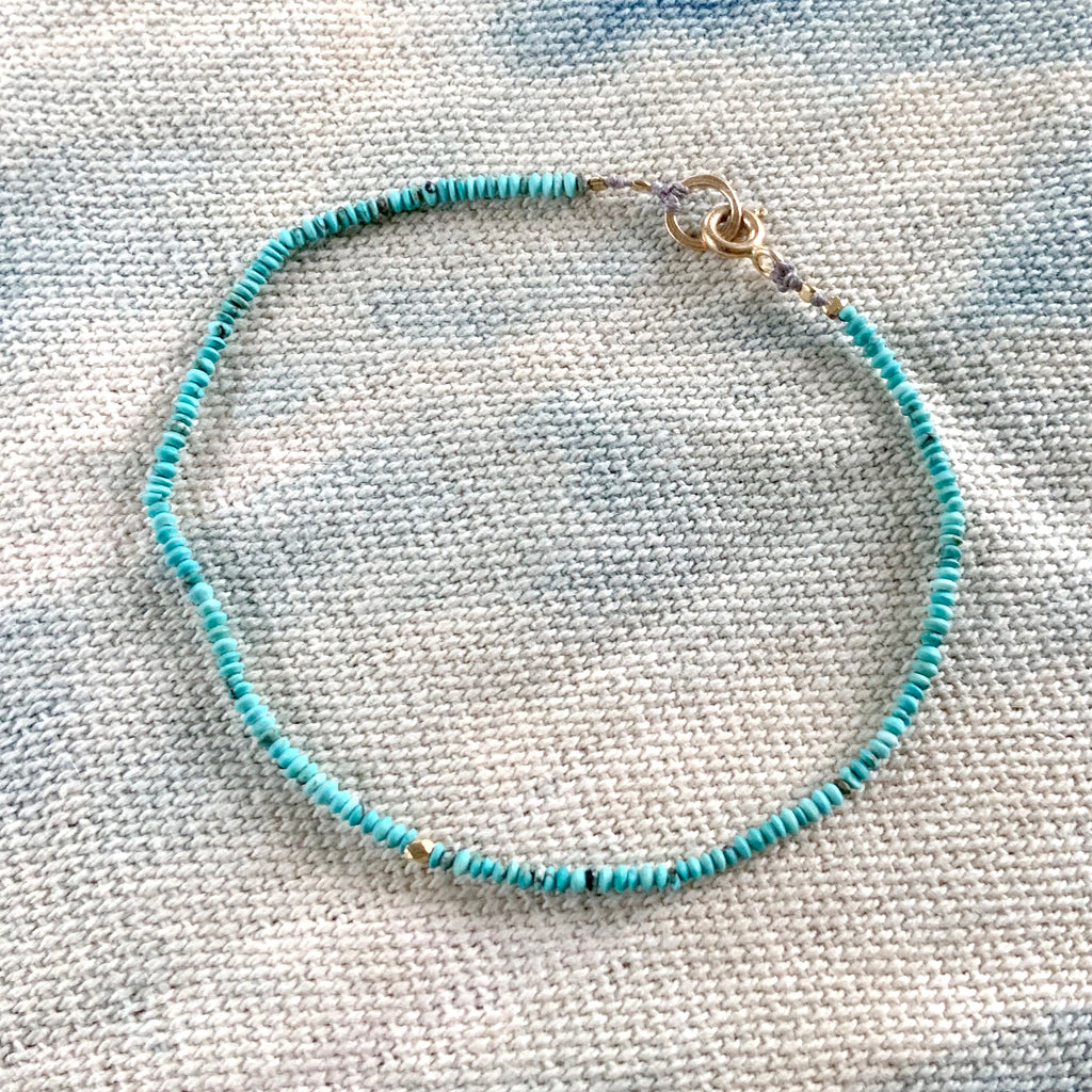 TURQUOISE AND GOLD BEAD BRACELET - 056BLTG