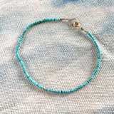 TURQUOISE AND GOLD BEAD BRACELET - SKU056BLTG
