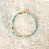 GOLD AND TURQUOISE BEADED BRACELET - SKU057BLTG