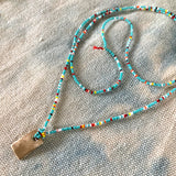 Tiny Beaded Long Colorful Summer Necklace with Simple 14ky Charm - sku206nltm