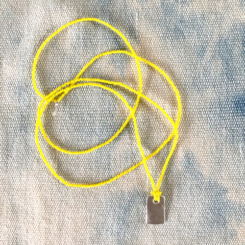 Tiny Bead Skinny Long Layering Tag Charm Necklace in Yellow - sku206nly