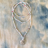 Long Summer Beaded Necklace with Handmade Charm - sku212nlswm
