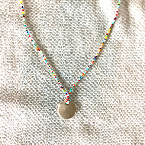 Tiny Beaded Turquoise Multi Colored Long Necklace with Handmade Disc Charm - sku212nlsmc