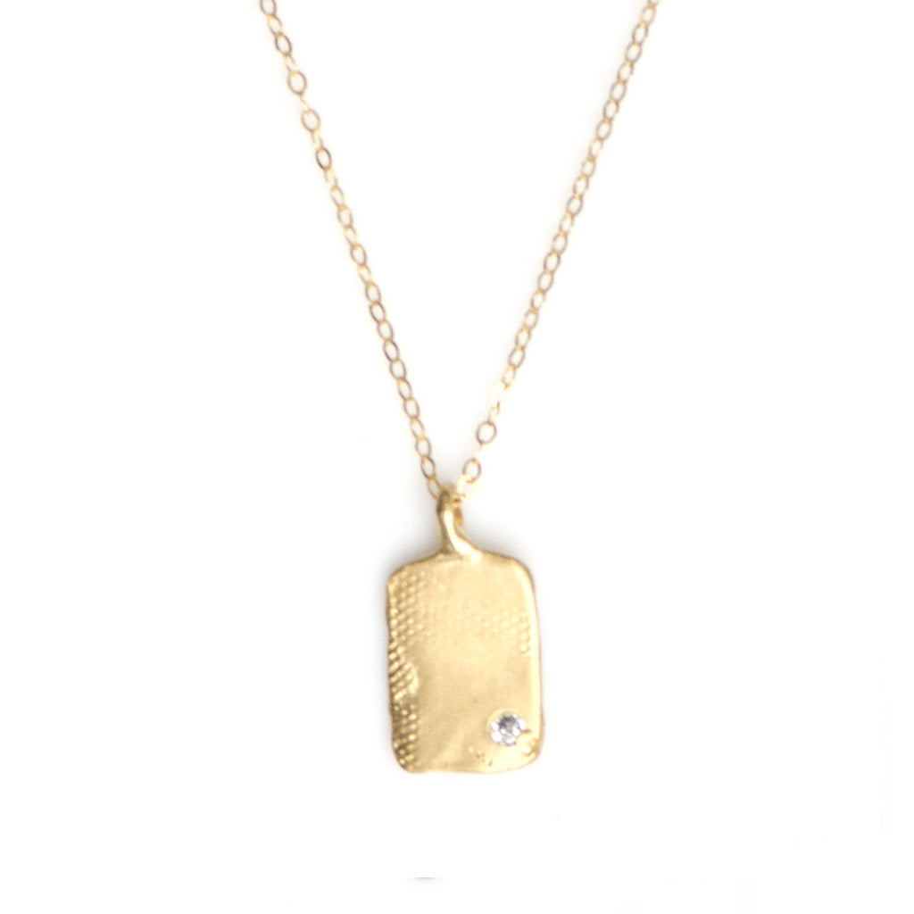 TEXTURED TAG NECKLACE IN GOLD | KEELY SMITH JEWELRY DESIGNS