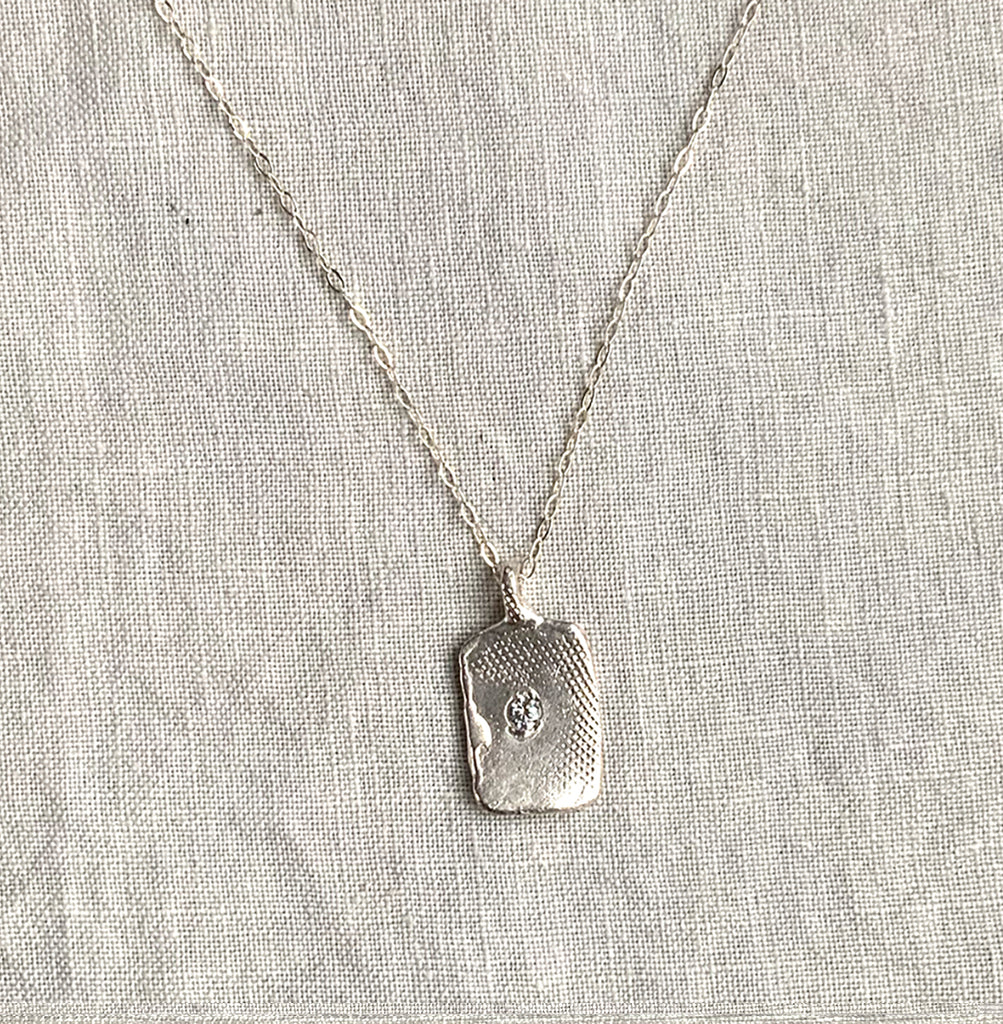 TEXTURED TAG NECKLACE IN SILVER - 233NLS - keelysmithdesigns