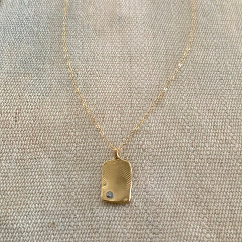 TEXTURED TAG NECKLACE IN GOLD  - SKU233NLG