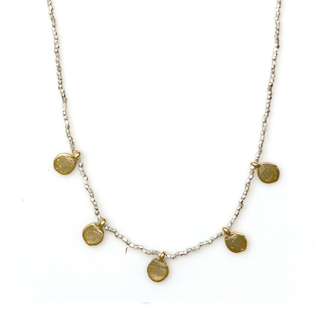 STERLING AND GOLD PLATE MULTI DISC PENDANT NECKLACE - SKU263NLSG - keelysmithdesigns