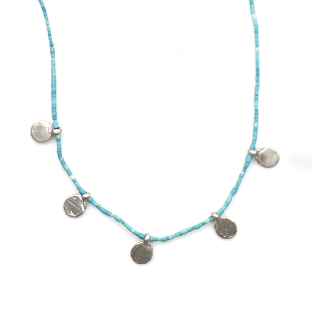 STERLING MULTI DISC CHARMS ON TURQUOISE NECKLACE - SKU263NLST - keelysmithdesigns