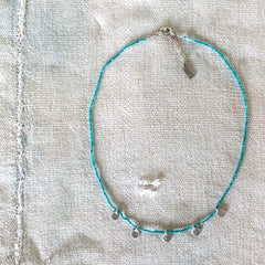 SILVER MULTI DOT NECKLACE ON TURQUOISE - 263NLST