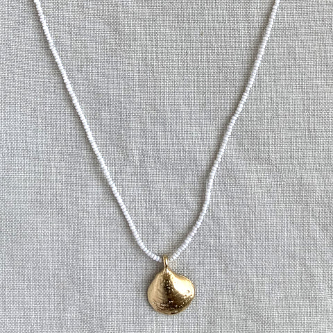 GOLD BEACH SHELL MICRO BEADED NECKLACE IN WHITE - SKU272NLGW - keelysmithdesigns