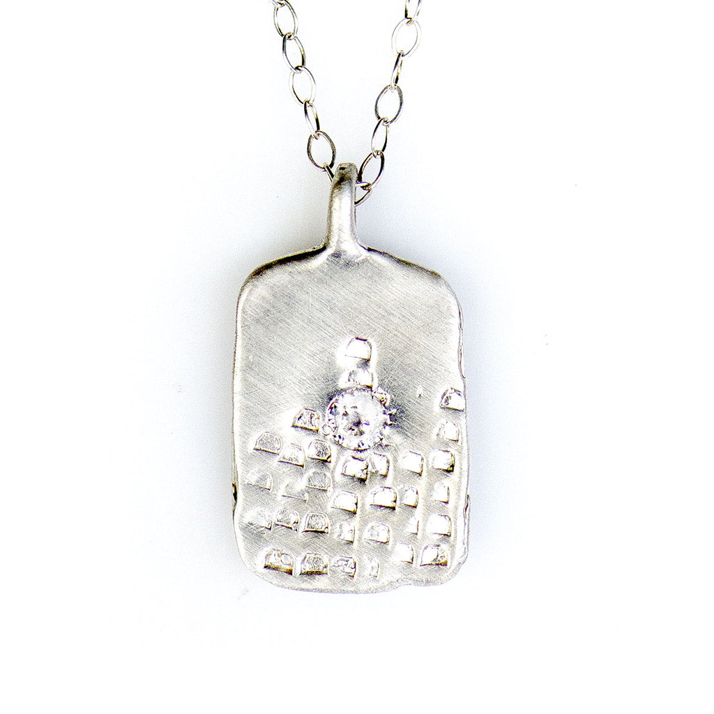 BLOCK PRINT TAG NECKLACE IN SILVER - SKU284NLS - keelysmithdesigns