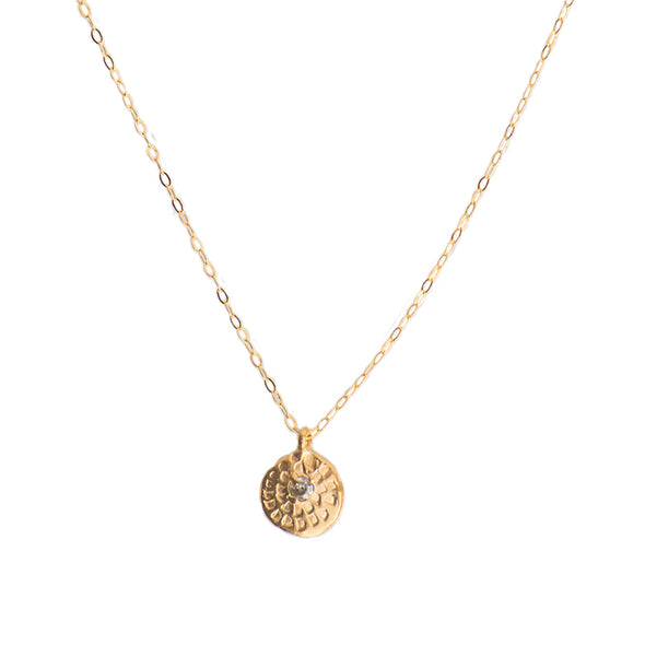 MINI WOODBLOCK CHARM NECKLACE - GOLD - 286NLG