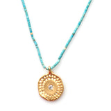 Tiny Beaded Turquoise and Textured Pendant Necklace By Keely Smith Jewelry Designs