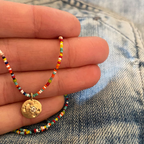 MINI DISC PENDANT ON MULTI COLOR MIX BEADS - 14K - keelysmithdesigns