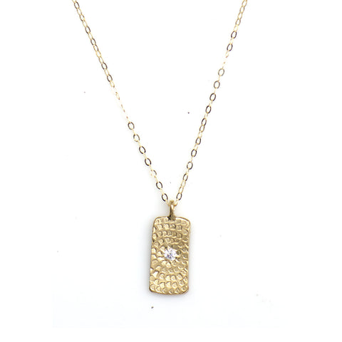 WOODBLOCK PRINT TAG NECKLACE IN GOLD - SKU 294NLG
