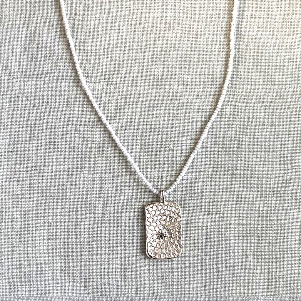 WOODBLOCK STAMPED TAG MICRO BEAD NECKLACE - SKU294NLSW - keelysmithdesigns
