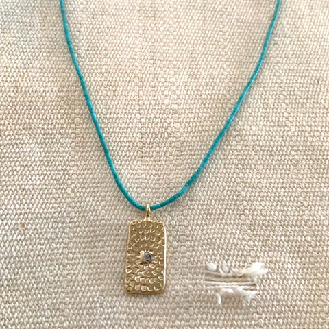 WOODBLOCK HAND STAMPED TEXTURED  NECKLACE ON TURQUOISE - SKU294NLGT